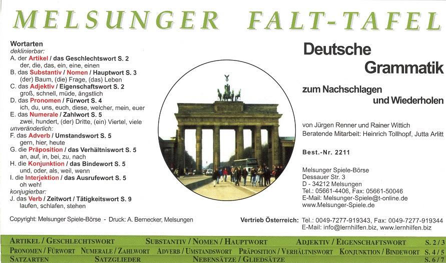 Kinderzeitungsverlag Falt Grammatik Deutsch
